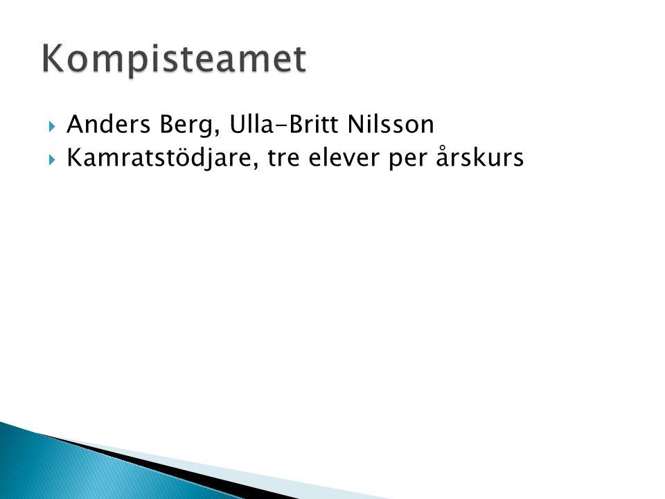  Anders Berg, Ulla-Britt Nilsson  Kamratstödjare, tre elever per årskurs