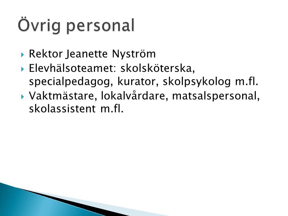 Rektor Jeanette Nyström  Elevhälsoteamet: skolsköterska, specialpedagog, kurator, skolpsykolog m.fl.  Vaktmästare, lokalvårdare, matsalspersonal,
