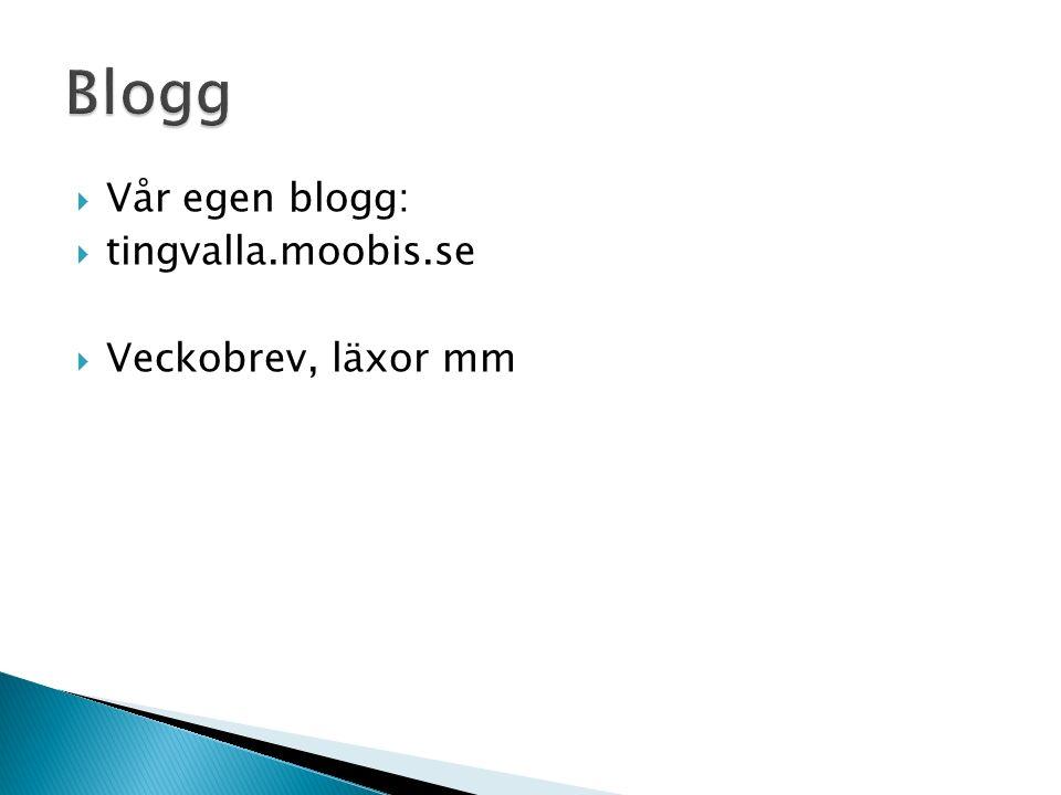  Vår egen blogg:  tingvalla.moobis.se  Veckobrev, läxor mm