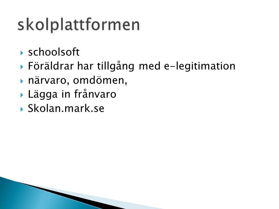  schoolsoft  Föräldrar har tillgång med e-legitimation  närvaro, omdömen,  Lägga in frånvaro  Skolan.mark.se