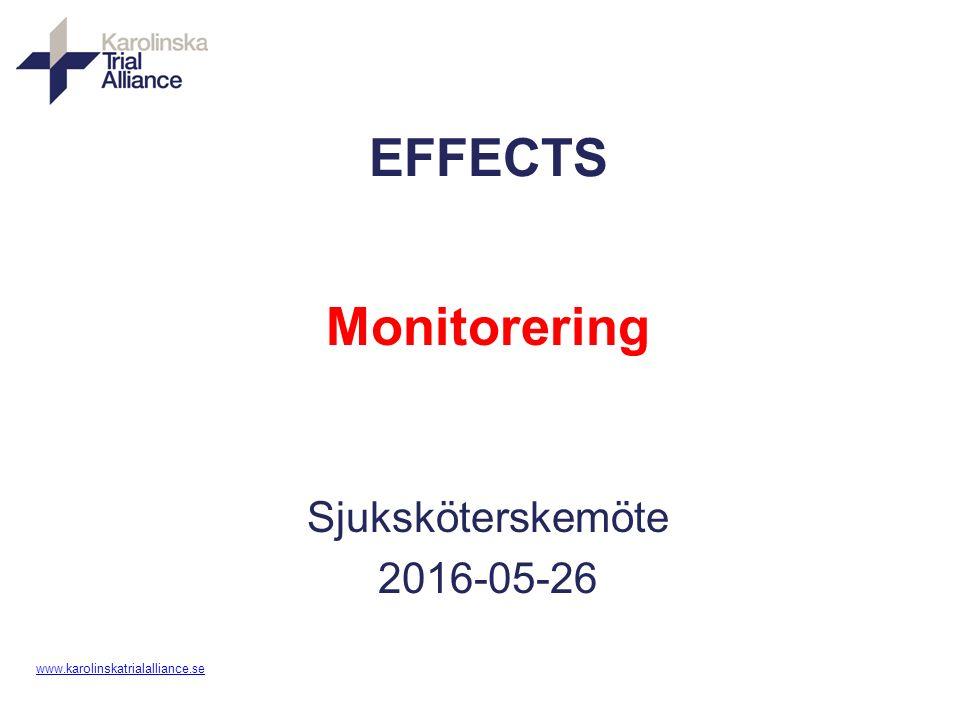 www. karolinskatrialalliance.se EFFECTS Monitorering Sjuksköterskemöte 2016-05-26