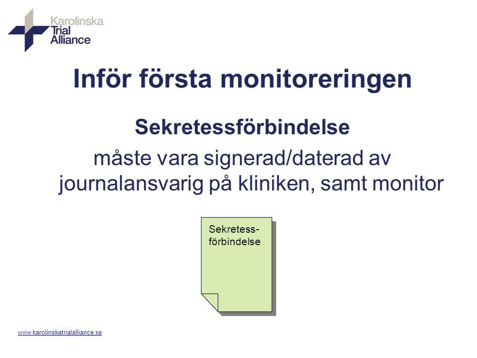 www. karolinskatrialalliance.se Inför första monitoreringen Sekretessförbindelse måste vara signerad/daterad av journalansvarig på kliniken, samt moni