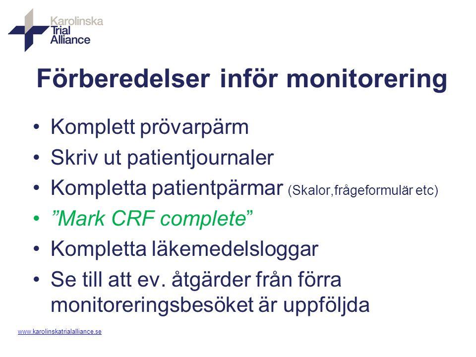 www. karolinskatrialalliance.se Förberedelser inför monitorering Komplett prövarpärm Skriv ut patientjournaler Kompletta patientpärmar (Skalor,frågefo