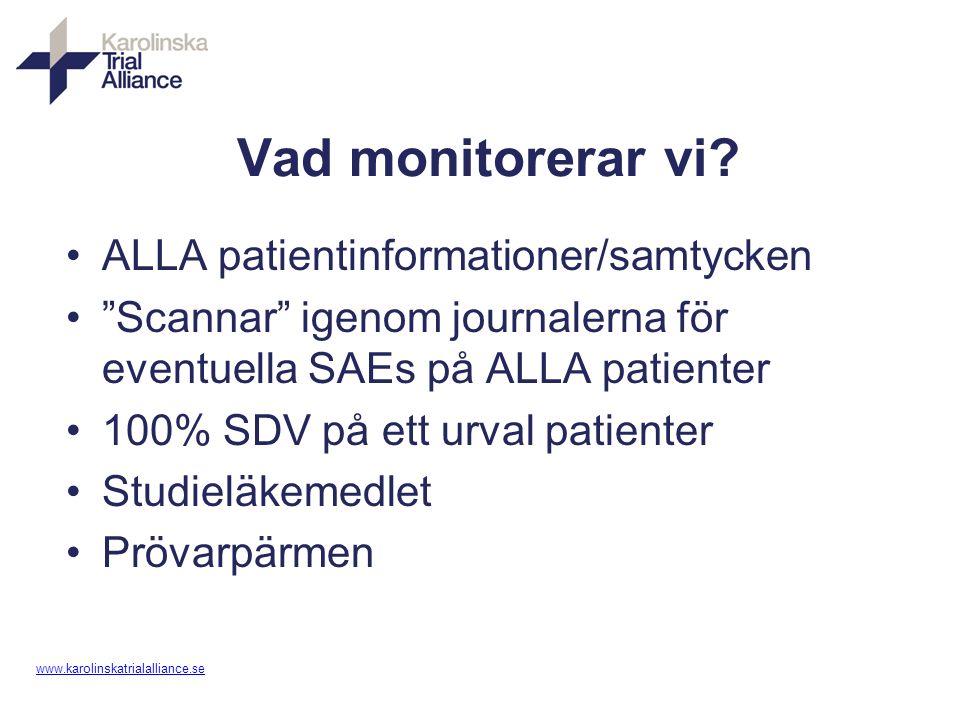 """www. karolinskatrialalliance.se Vad monitorerar vi? ALLA patientinformationer/samtycken """"Scannar"""" igenom journalerna för eventuella SAEs på ALLA patie"""
