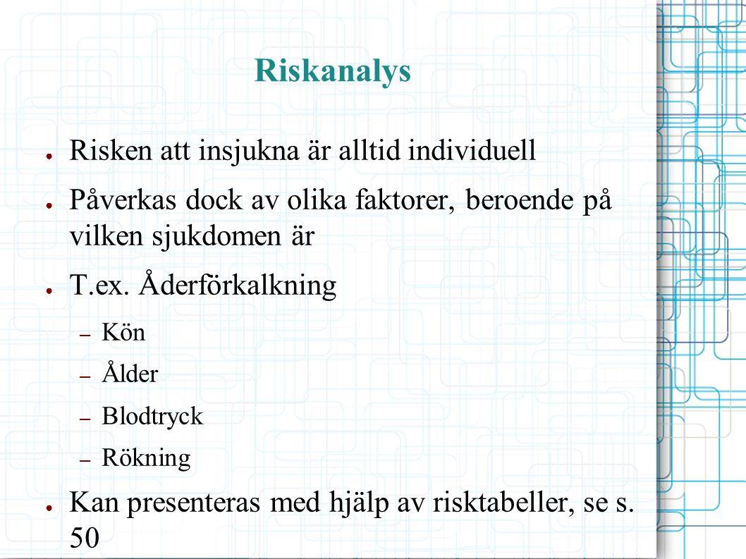 Riskanalys ● Risken att insjukna är alltid individuell ● Påverkas dock av olika faktorer, beroende på vilken sjukdomen är ● T.ex.
