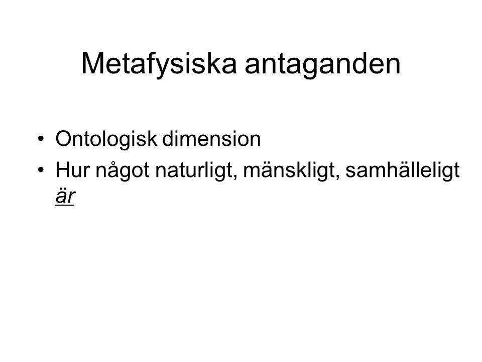 Metafysiska antaganden Ontologisk dimension Hur något naturligt, mänskligt, samhälleligt är