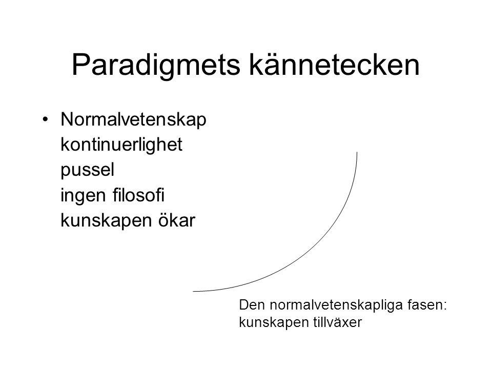 Paradigmets kännetecken Normalvetenskap kontinuerlighet pussel ingen filosofi kunskapen ökar Den normalvetenskapliga fasen: kunskapen tillväxer