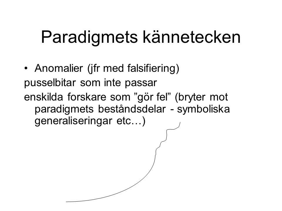 Paradigmets kännetecken Anomalier (jfr med falsifiering) pusselbitar som inte passar enskilda forskare som gör fel (bryter mot paradigmets beståndsdelar - symboliska generaliseringar etc…)