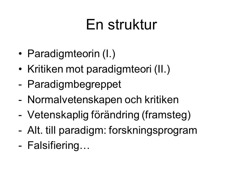 En struktur Paradigmteorin (I.) Kritiken mot paradigmteori (II.) -Paradigmbegreppet -Normalvetenskapen och kritiken -Vetenskaplig förändring (framsteg) -Alt.