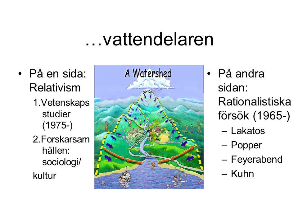 …vattendelaren På en sida: Relativism 1.Vetenskaps studier (1975-) 2.Forskarsam hällen: sociologi/ kultur På andra sidan: Rationalistiska försök (1965-) –Lakatos –Popper –Feyerabend –Kuhn