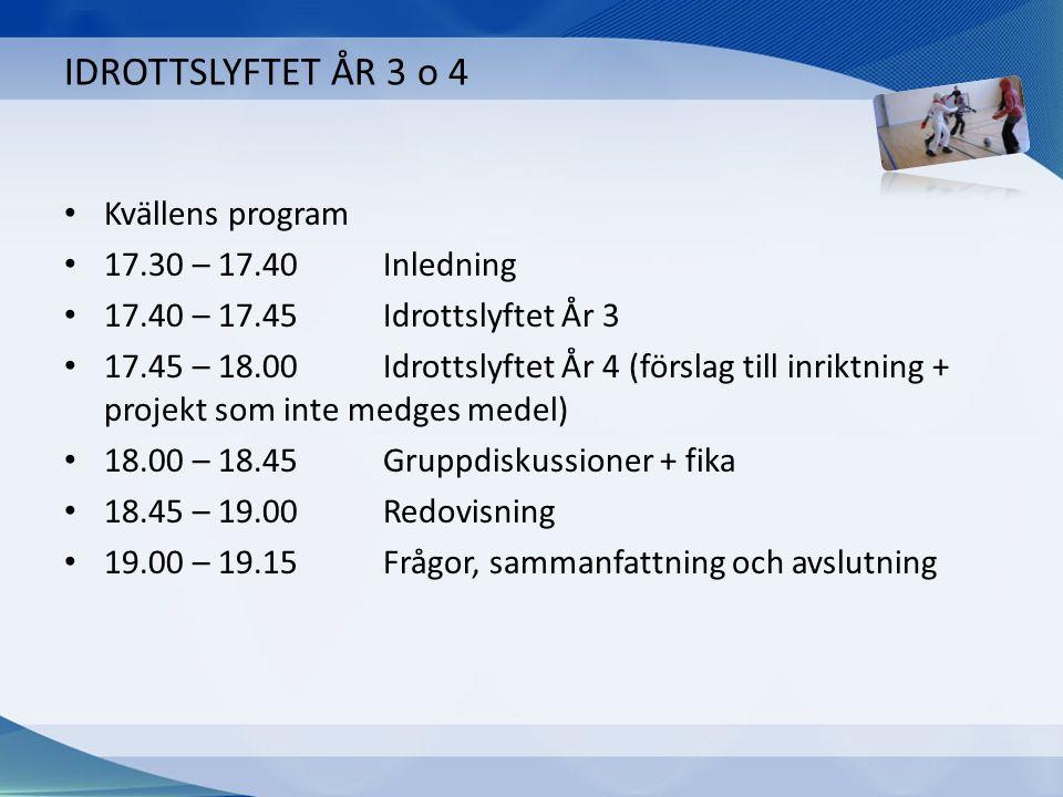 IDROTTSLYFTET ÅR 3 o 4 Kvällens program 17.30 – 17.40Inledning 17.40 – 17.45Idrottslyftet År 3 17.45 – 18.00Idrottslyftet År 4 (förslag till inriktnin