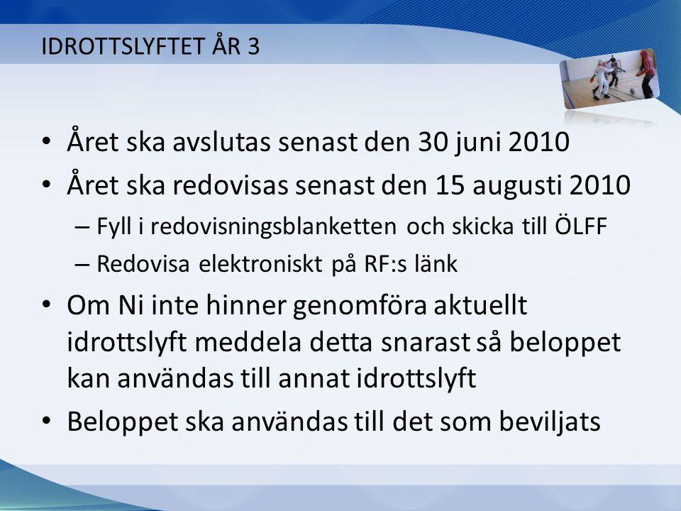 IDROTTSLYFTET ÅR 3 Året ska avslutas senast den 30 juni 2010 Året ska redovisas senast den 15 augusti 2010 – Fyll i redovisningsblanketten och skicka