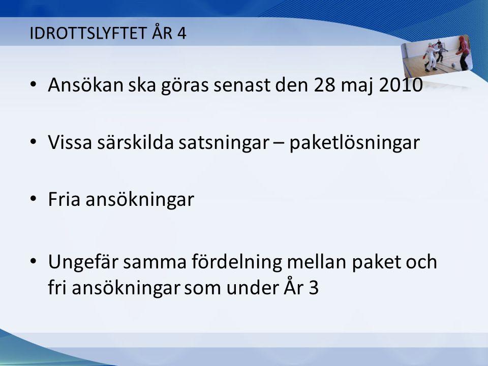 IDROTTSLYFTET ÅR 4 Ansökan ska göras senast den 28 maj 2010 Vissa särskilda satsningar – paketlösningar Fria ansökningar Ungefär samma fördelning mellan paket och fri ansökningar som under År 3
