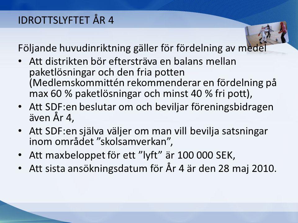 IDROTTSLYFTET ÅR 4 Följande huvudinriktning gäller för fördelning av medel Att distrikten bör eftersträva en balans mellan paketlösningar och den fria potten (Medlemskommittén rekommenderar en fördelning på max 60 % paketlösningar och minst 40 % fri pott), Att SDF:en beslutar om och beviljar föreningsbidragen även År 4, Att SDF:en själva väljer om man vill bevilja satsningar inom området skolsamverkan , Att maxbeloppet för ett lyft är 100 000 SEK, Att sista ansökningsdatum för År 4 är den 28 maj 2010.