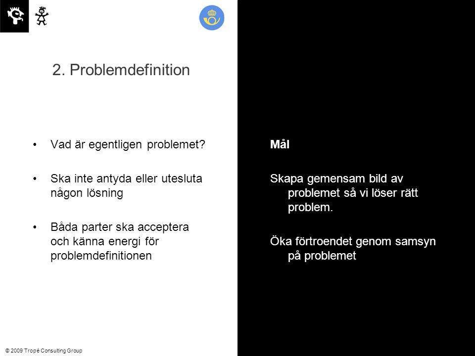© 2009 Tropé Consulting Group Vad är egentligen problemet.
