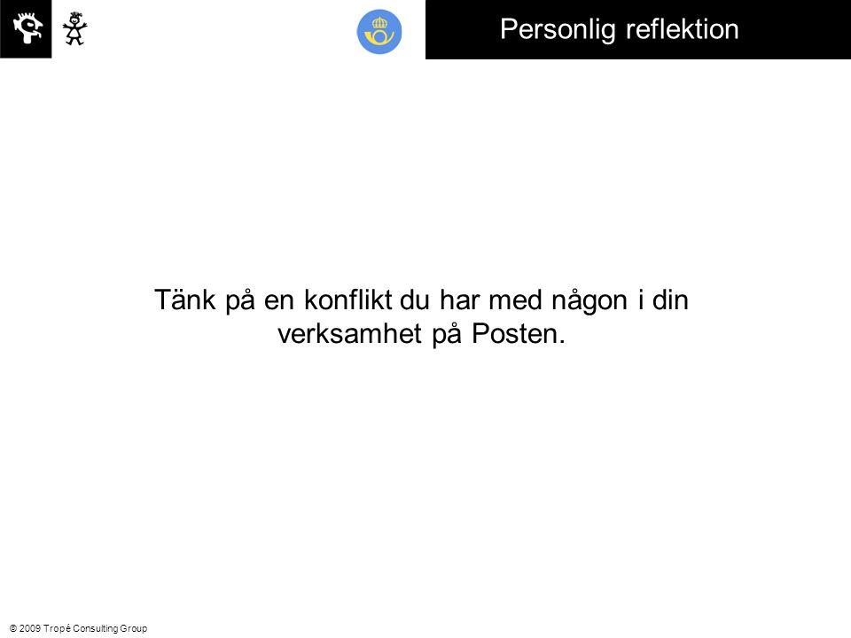 © 2009 Tropé Consulting Group Tänk på en konflikt du har med någon i din verksamhet på Posten.
