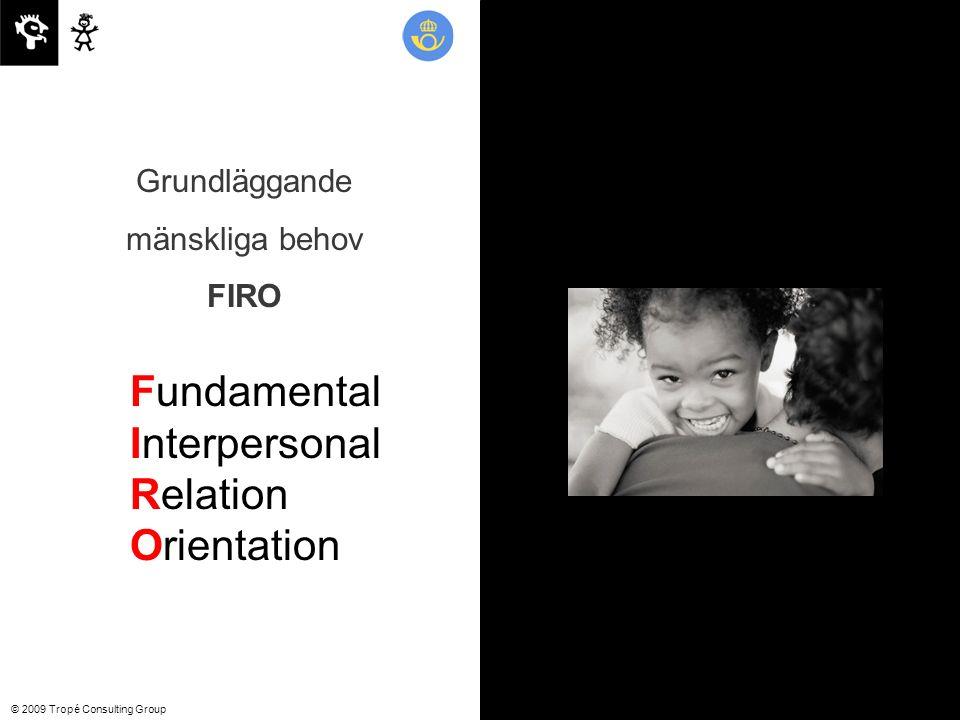 © 2009 Tropé Consulting Group Fundamental Interpersonal Relation Orientation Grundläggande mänskliga behov FIRO