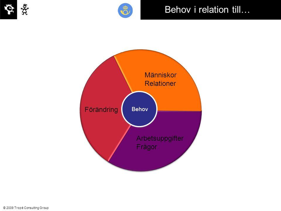 © 2009 Tropé Consulting Group Behov i relation till… Förändring Människor Relationer Arbetsuppgifter Frågor Behov