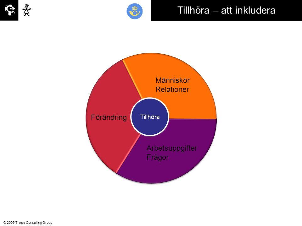 © 2009 Tropé Consulting Group Tillhöra – att inkludera Förändring Människor Relationer Arbetsuppgifter Frågor Tillhöra