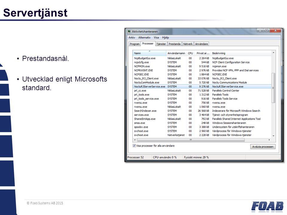 © Foab Systems AB 2015 Servertjänst Prestandasnål. Utvecklad enligt Microsofts standard.
