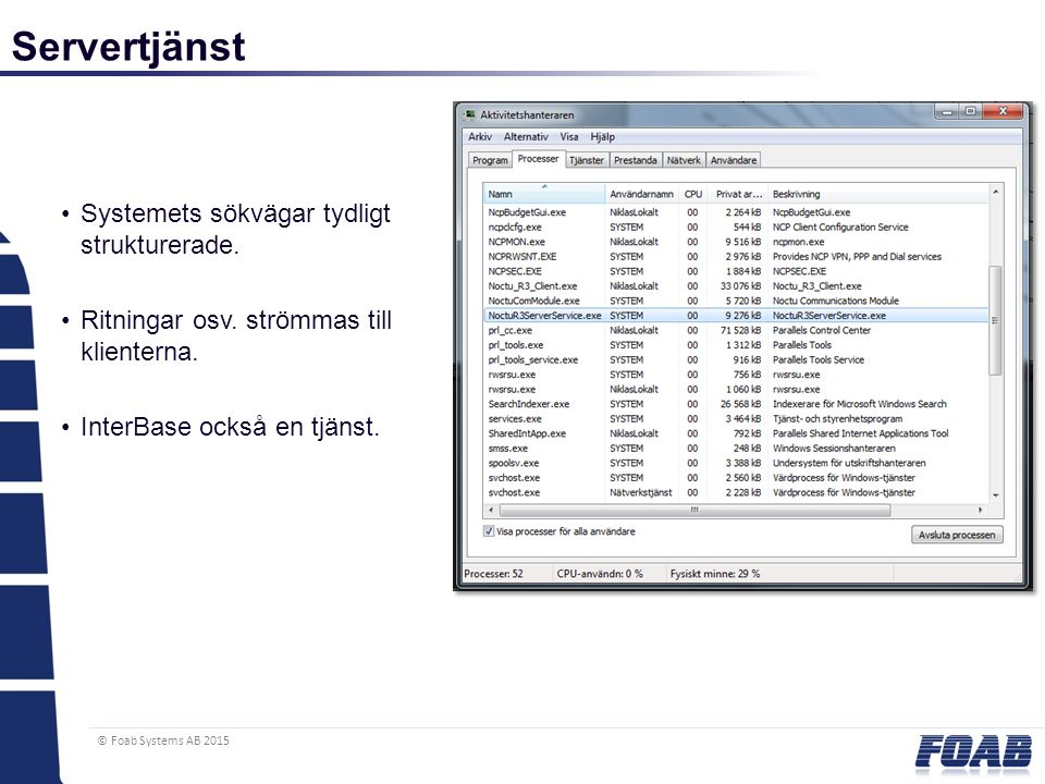 © Foab Systems AB 2015 Servertjänst Systemets sökvägar tydligt strukturerade.