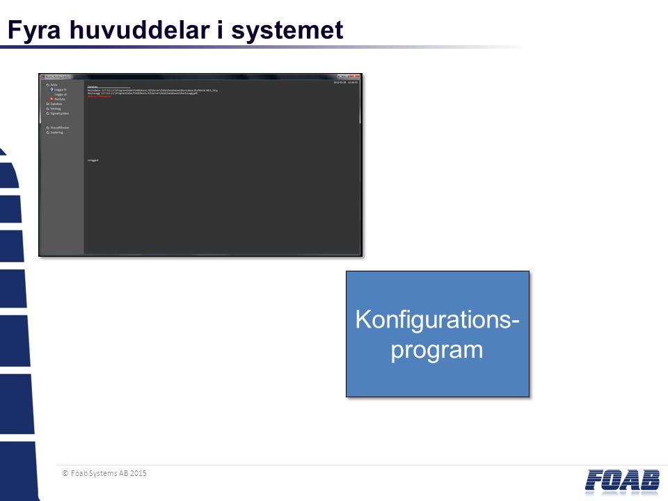 © Foab Systems AB 2015 Fyra huvuddelar i systemet Konfigurations- program