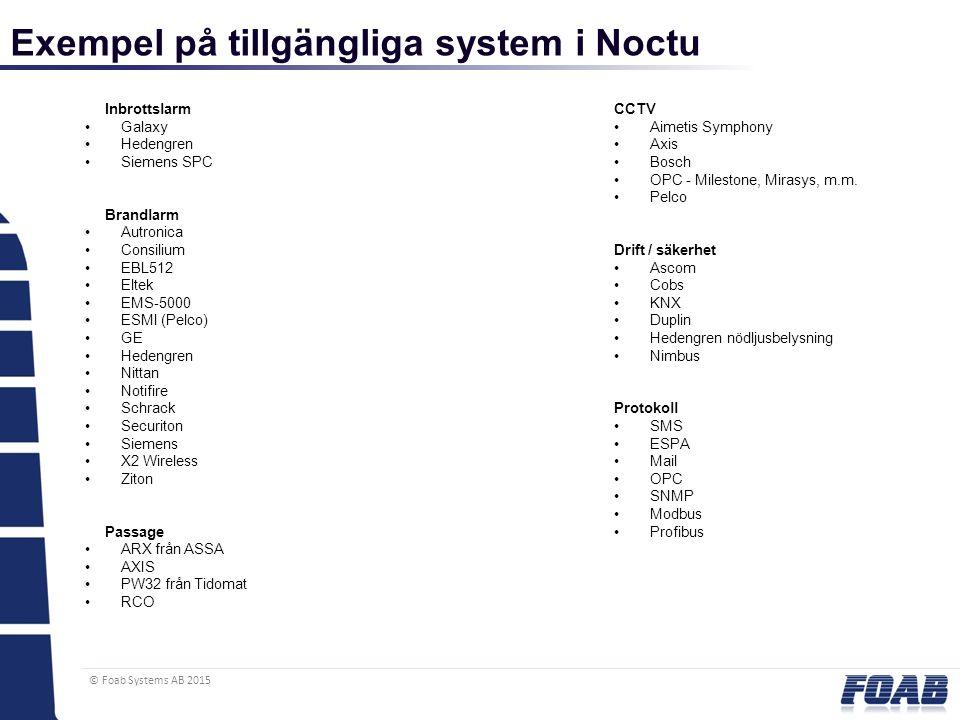 © Foab Systems AB 2015 Exempel på tillgängliga system i Noctu Inbrottslarm Galaxy Hedengren Siemens SPC Brandlarm Autronica Consilium EBL512 Eltek EMS-5000 ESMI (Pelco) GE Hedengren Nittan Notifire Schrack Securiton Siemens X2 Wireless Ziton Passage ARX från ASSA AXIS PW32 från Tidomat RCO CCTV Aimetis Symphony Axis Bosch OPC - Milestone, Mirasys, m.m.