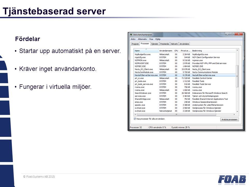 © Foab Systems AB 2015 Tjänstebaserad server Fördelar Startar upp automatiskt på en server. Kräver inget användarkonto. Fungerar i virtuella miljöer.