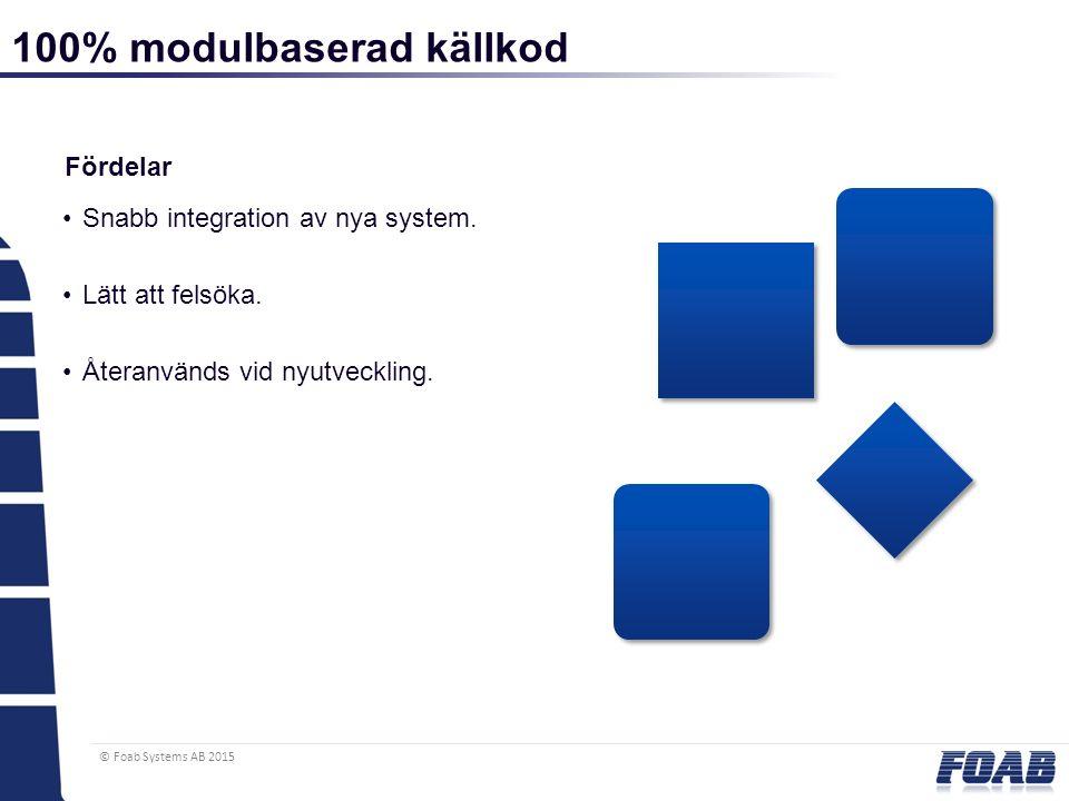© Foab Systems AB 2015 100% modulbaserad källkod Fördelar Snabb integration av nya system. Lätt att felsöka. Återanvänds vid nyutveckling.