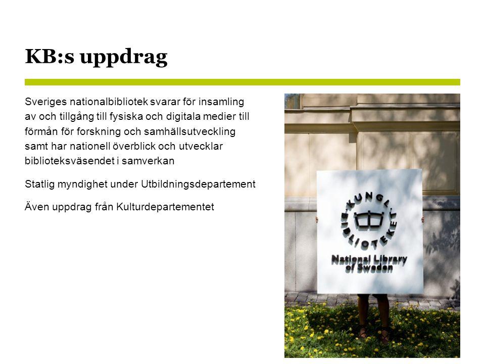 KB:s uppdrag Sveriges nationalbibliotek svarar för insamling av och tillgång till fysiska och digitala medier till förmån för forskning och samhällsutveckling samt har nationell överblick och utvecklar biblioteksväsendet i samverkan Statlig myndighet under Utbildningsdepartement Även uppdrag från Kulturdepartementet