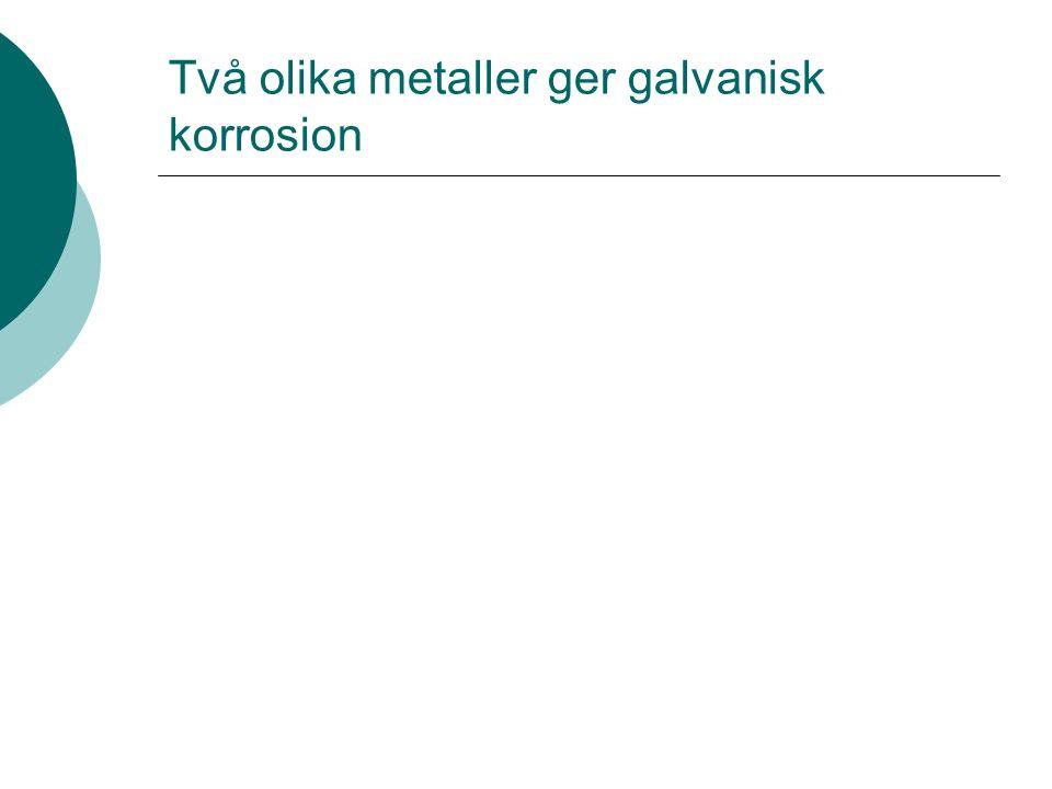 Två olika metaller ger galvanisk korrosion