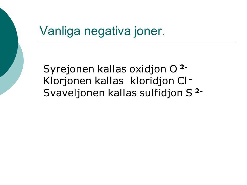 Vanliga negativa joner.