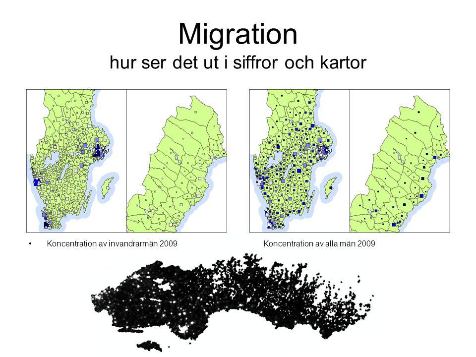 Migration hur ser det ut i siffror och kartor Koncentration av invandrarmän 2009 Koncentration av alla män 2009