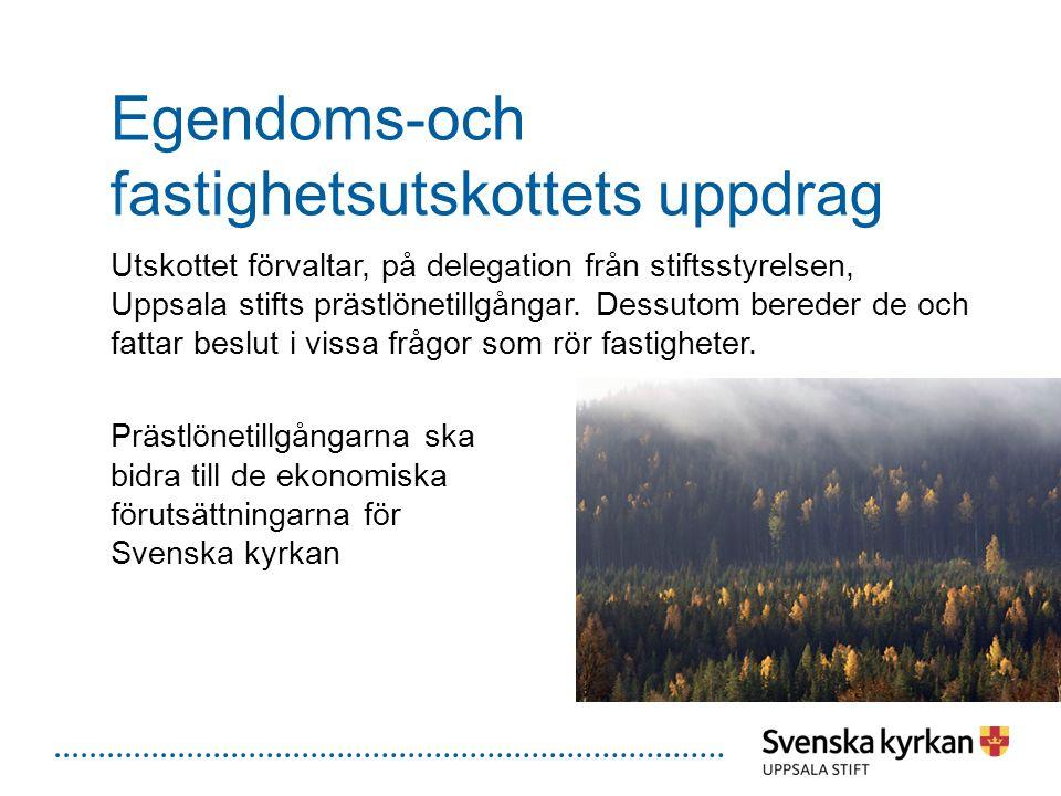 Egendoms-och fastighetsutskottets uppdrag Utskottet förvaltar, på delegation från stiftsstyrelsen, Uppsala stifts prästlönetillgångar. Dessutom berede