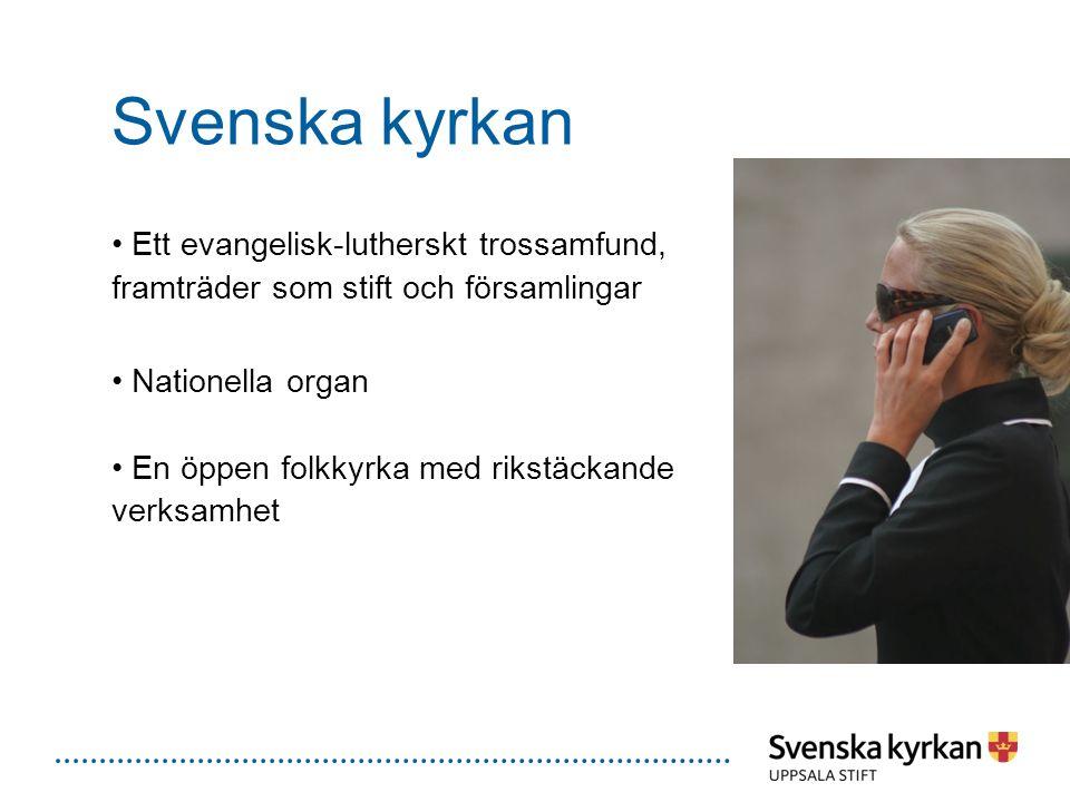 Svenska kyrkan Ett evangelisk-lutherskt trossamfund, framträder som stift och församlingar Nationella organ En öppen folkkyrka med rikstäckande verksa