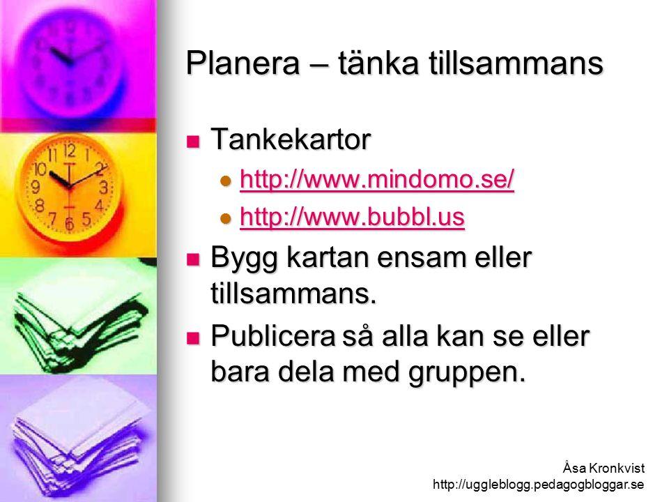 Åsa Kronkvist http://uggleblogg.pedagogbloggar.se Planera – samordna gruppen Planera möte, boka tid etc Planera möte, boka tid etc Deltagare ser eget val http://www.scheduleonce.com Deltagare ser eget val http://www.scheduleonce.com http://www.scheduleonce.com Deltagare ser direkt andras val http://www.doodle.com/ Deltagare ser direkt andras val http://www.doodle.com/ http://www.doodle.com/