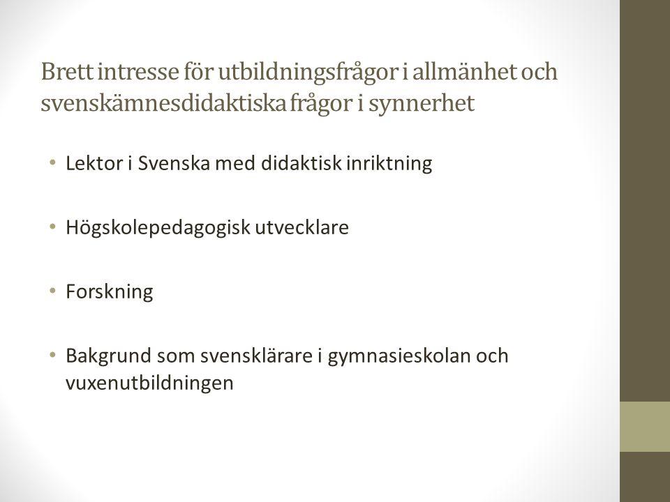 Doktorsavhandling i ämnet Svenska med didaktisk inriktning
