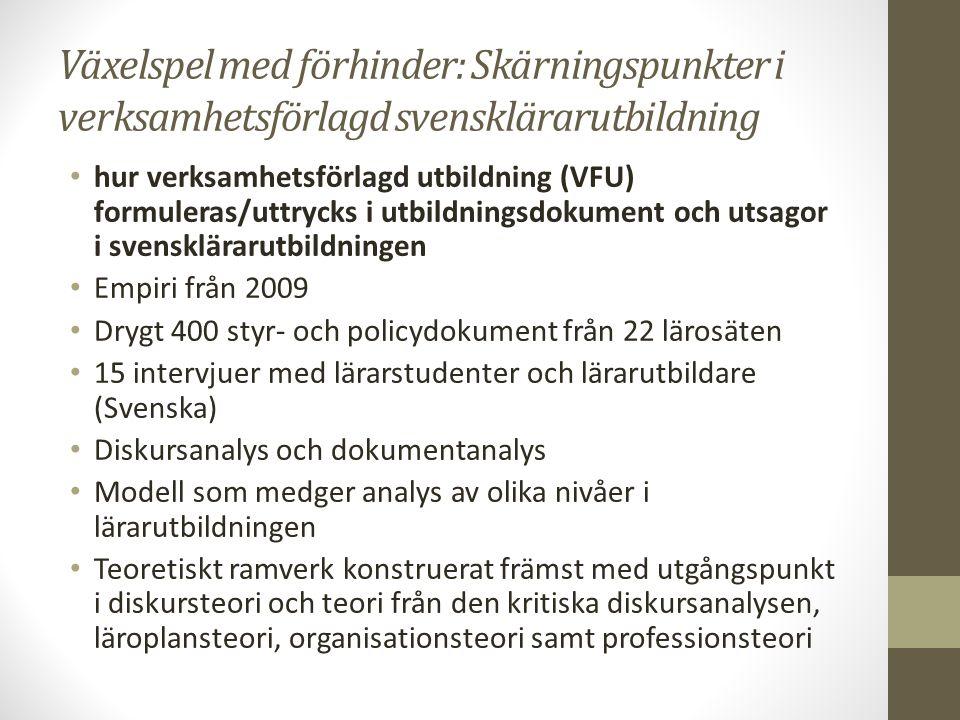 Växelspel med förhinder: Skärningspunkter i verksamhetsförlagd svensklärarutbildning hur verksamhetsförlagd utbildning (VFU) formuleras/uttrycks i utbildningsdokument och utsagor i svensklärarutbildningen Empiri från 2009 Drygt 400 styr- och policydokument från 22 lärosäten 15 intervjuer med lärarstudenter och lärarutbildare (Svenska) Diskursanalys och dokumentanalys Modell som medger analys av olika nivåer i lärarutbildningen Teoretiskt ramverk konstruerat främst med utgångspunkt i diskursteori och teori från den kritiska diskursanalysen, läroplansteori, organisationsteori samt professionsteori
