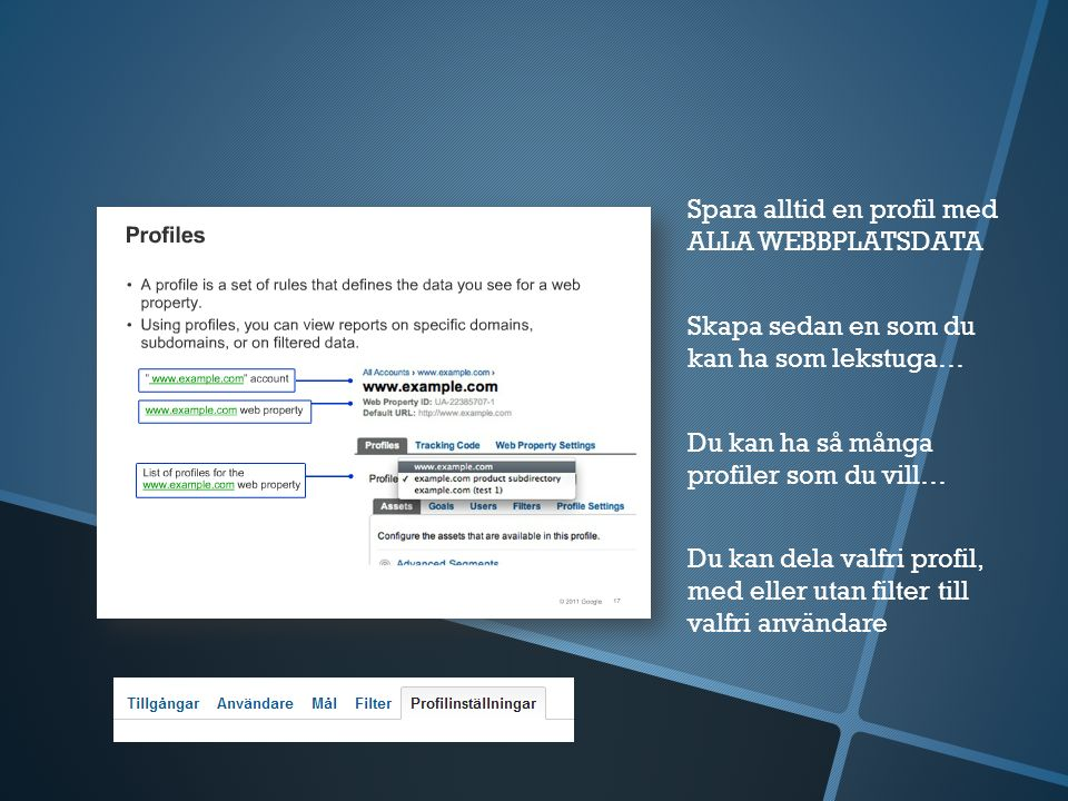 Spara alltid en profil med ALLA WEBBPLATSDATA Skapa sedan en som du kan ha som lekstuga… Du kan ha så många profiler som du vill… Du kan dela valfri profil, med eller utan filter till valfri användare