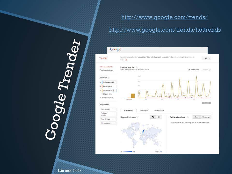 Google Trender http://www.google.com/trends/hottrends http://www.google.com/trends/ Läs mer >>>