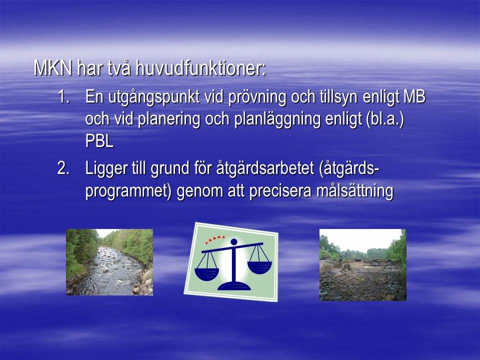 MKN har två huvudfunktioner: 1.En utgångspunkt vid prövning och tillsyn enligt MB och vid planering och planläggning enligt (bl.a.) PBL 2.Ligger till grund för åtgärdsarbetet (åtgärds- programmet) genom att precisera målsättning