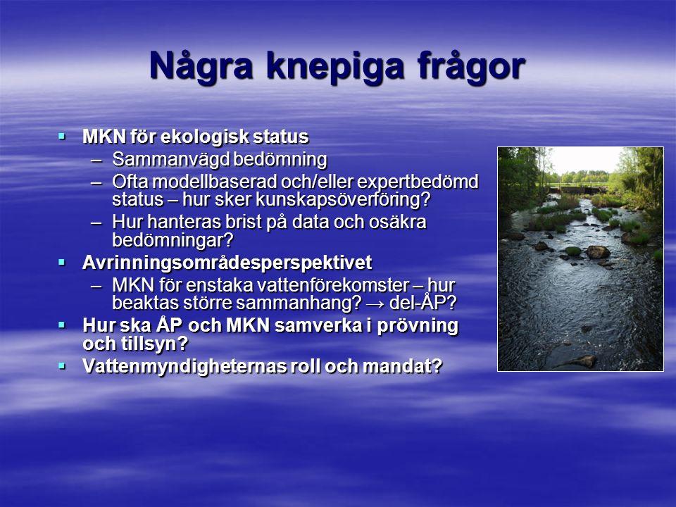 Några knepiga frågor  MKN för ekologisk status –Sammanvägd bedömning –Ofta modellbaserad och/eller expertbedömd status – hur sker kunskapsöverföring.