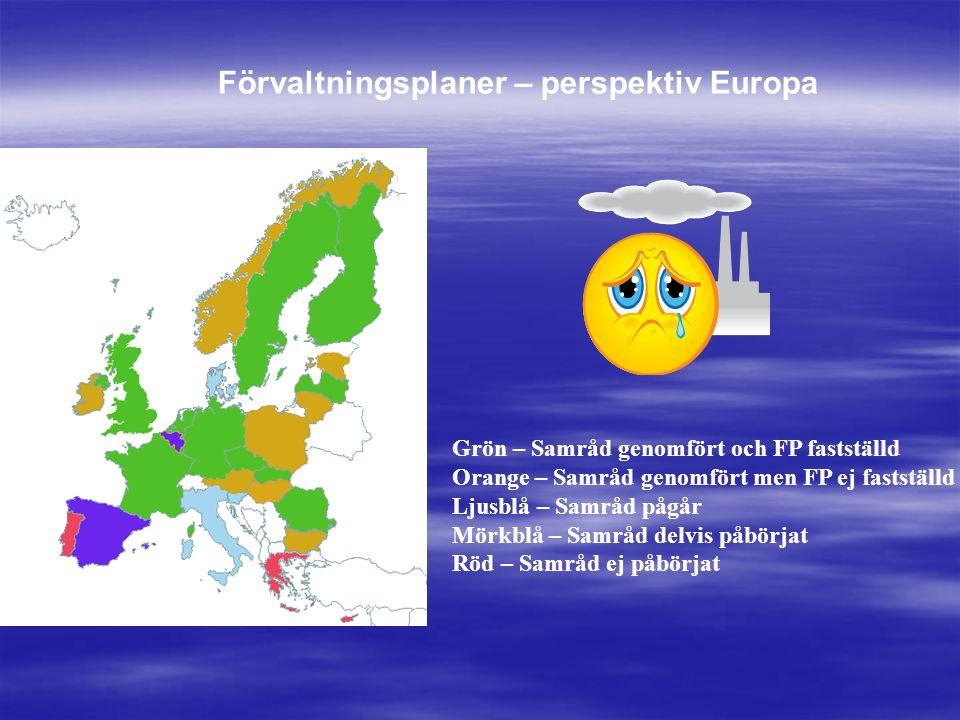 Grön – Samråd genomfört och FP fastställd Orange – Samråd genomfört men FP ej fastställd Ljusblå – Samråd pågår Mörkblå – Samråd delvis påbörjat Röd – Samråd ej påbörjat Förvaltningsplaner – perspektiv Europa