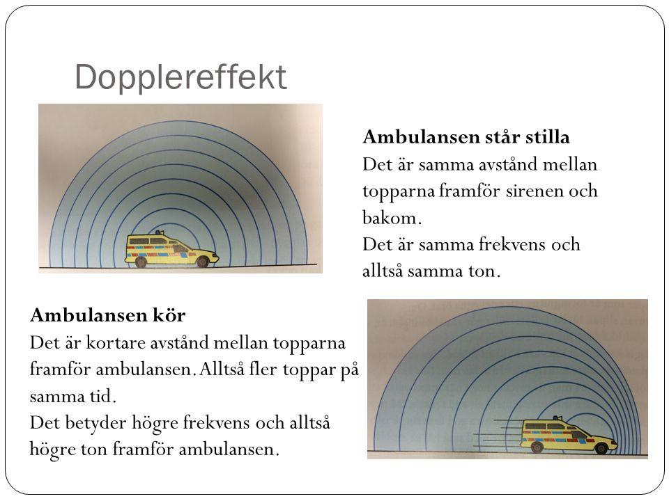 Dopplereffekt Ambulansen står stilla Det är samma avstånd mellan topparna framför sirenen och bakom. Det är samma frekvens och alltså samma ton. Ambul