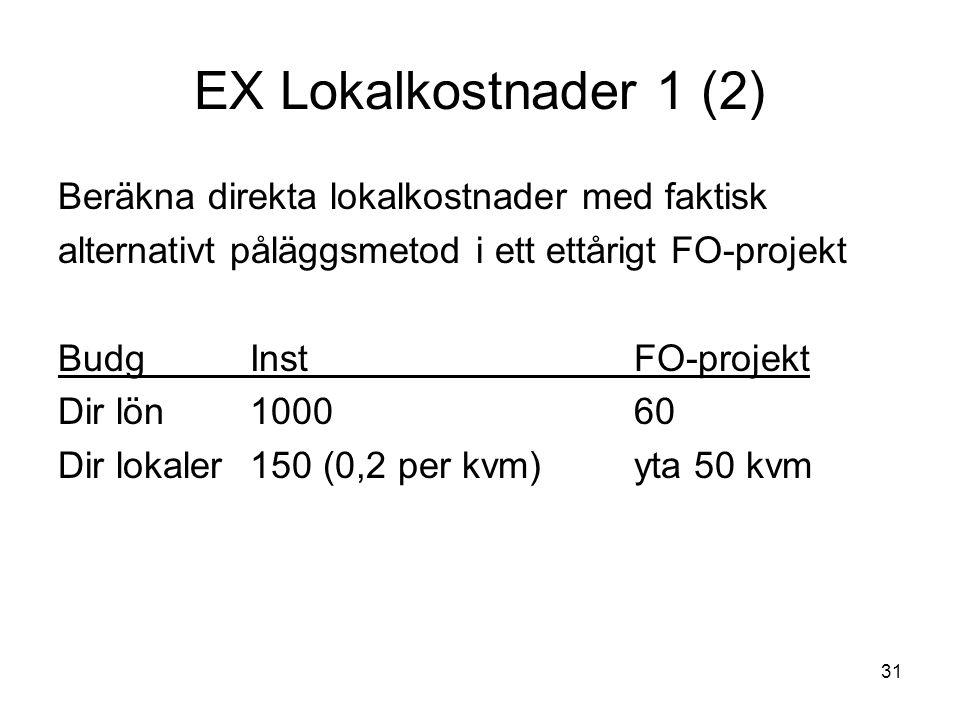 31 EX Lokalkostnader 1 (2) Beräkna direkta lokalkostnader med faktisk alternativt påläggsmetod i ett ettårigt FO-projekt BudgInstFO-projekt Dir lön100060 Dir lokaler150 (0,2 per kvm)yta 50 kvm