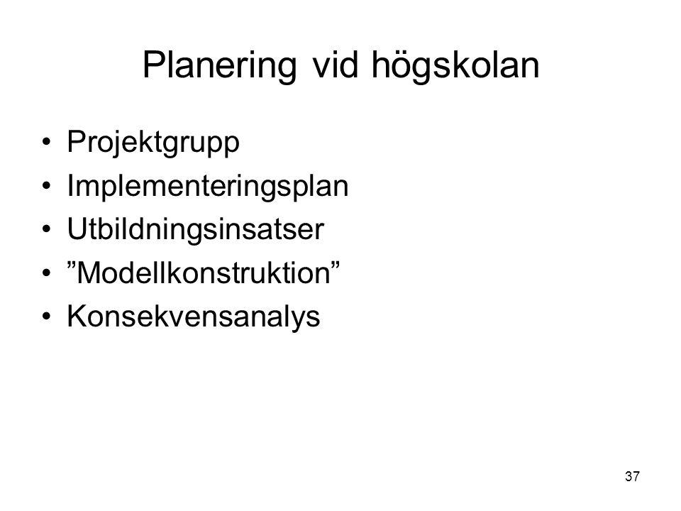 37 Planering vid högskolan Projektgrupp Implementeringsplan Utbildningsinsatser Modellkonstruktion Konsekvensanalys