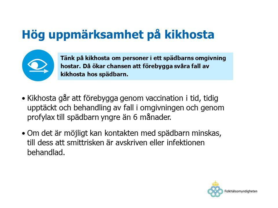 Hög uppmärksamhet på kikhosta Kikhosta går att förebygga genom vaccination i tid, tidig upptäckt och behandling av fall i omgivningen och genom profylax till spädbarn yngre än 6 månader.