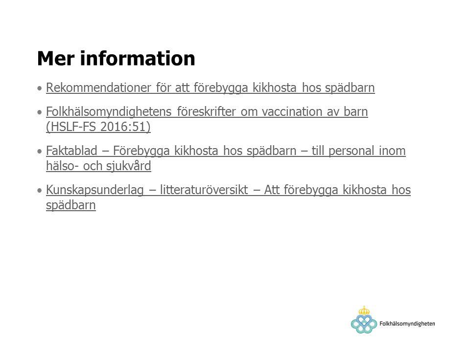 Mer information Rekommendationer för att förebygga kikhosta hos spädbarn Folkhälsomyndighetens föreskrifter om vaccination av barn (HSLF-FS 2016:51)Folkhälsomyndighetens föreskrifter om vaccination av barn (HSLF-FS 2016:51) Faktablad – Förebygga kikhosta hos spädbarn – till personal inom hälso- och sjukvårdFaktablad – Förebygga kikhosta hos spädbarn – till personal inom hälso- och sjukvård Kunskapsunderlag – litteraturöversikt – Att förebygga kikhosta hos spädbarnKunskapsunderlag – litteraturöversikt – Att förebygga kikhosta hos spädbarn