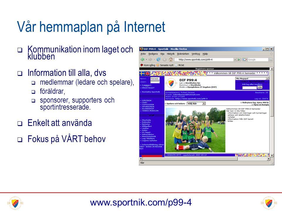 www.sportnik.com/p99-4 Vår hemmaplan på Internet  Kommunikation inom laget och klubben  Information till alla, dvs  medlemmar (ledare och spelare),  föräldrar,  sponsorer, supporters och sportintresserade.