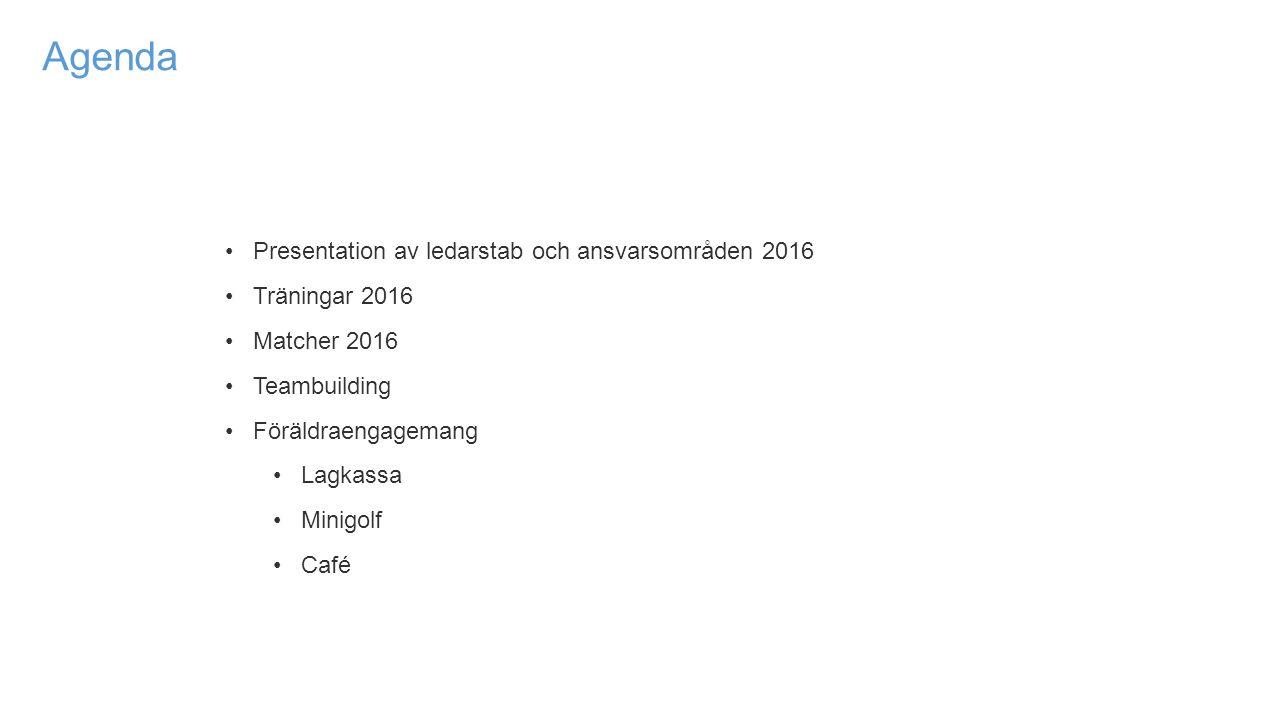 Agenda Presentation av ledarstab och ansvarsområden 2016 Träningar 2016 Matcher 2016 Teambuilding Föräldraengagemang Lagkassa Minigolf Café
